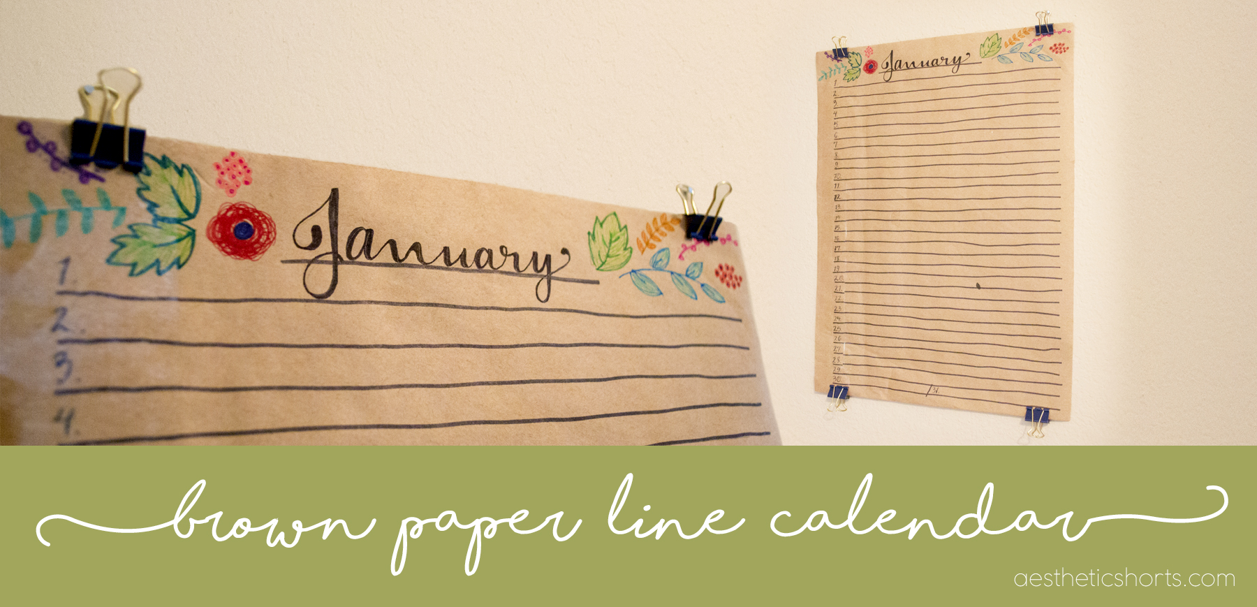 Brown Paper Line Calendar – Aesthetic Shorts Crafting and Creating