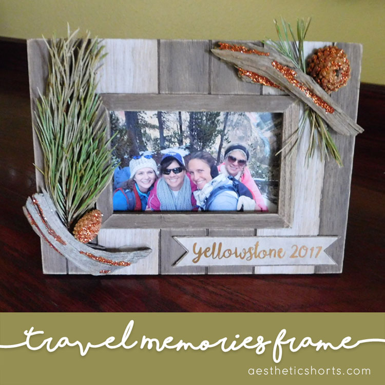 Travel memories picture frame. Use mementos from your vacation to create a unique and fun picture frame. The Silhouette Cameo can help add the perfect title tag.